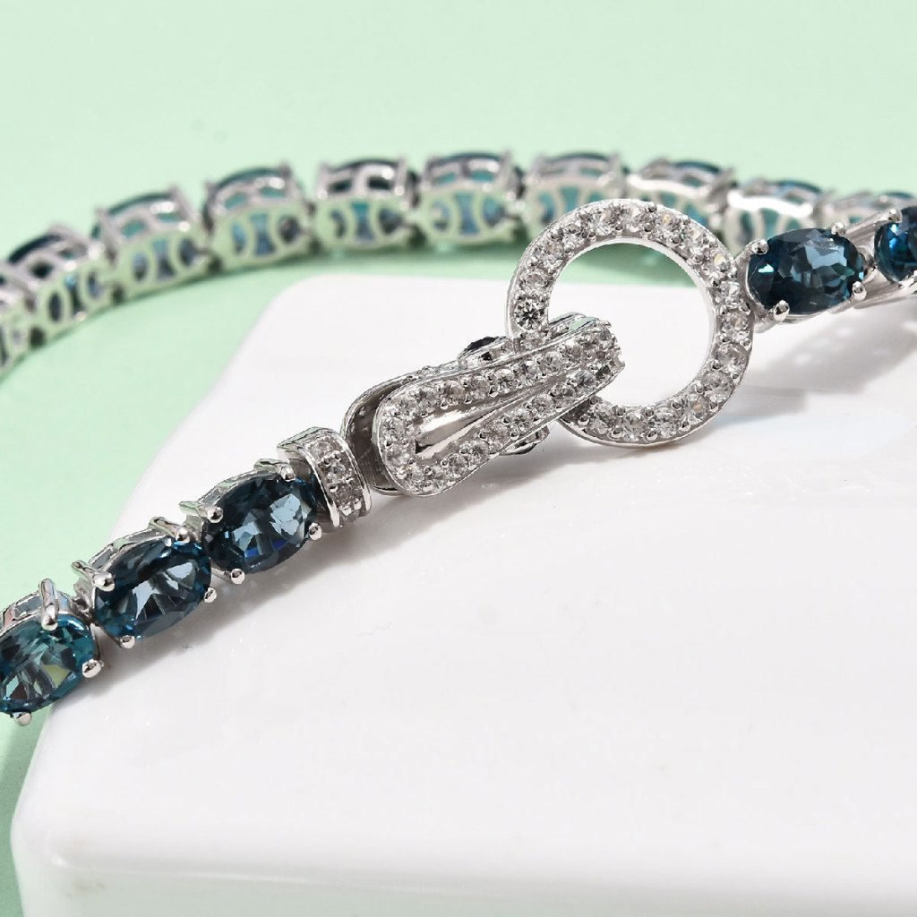 London Blue Topaz, Multi Gemstone Tennis Bracelet in Platinum Over Sterling Silver