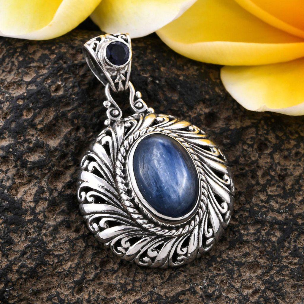 BALI LEGACY Kyanite, Catalina Iolite Pendant in Sterling Silver