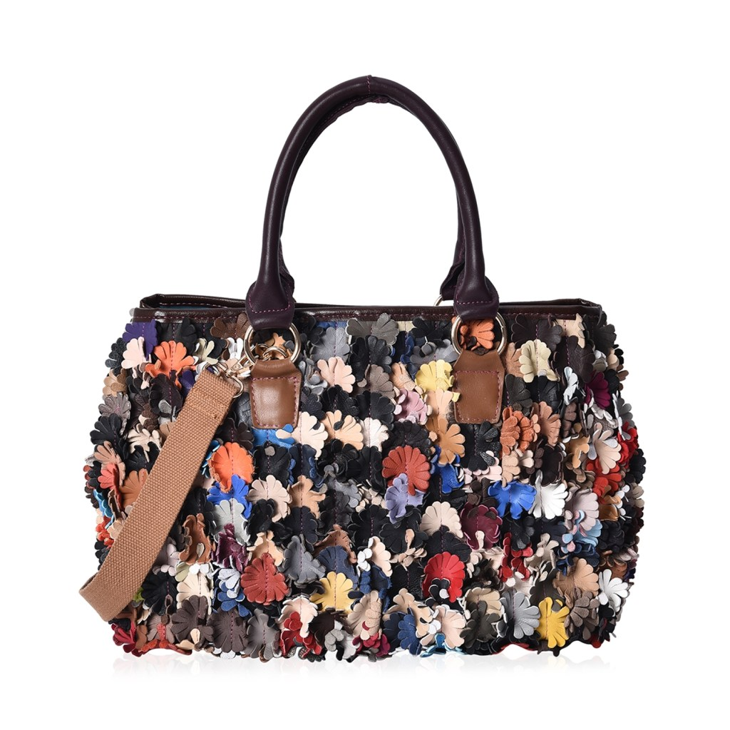CHAOS BY ELSIE Multi Color Floral Pattern Leather Tote Bag with Removable Shoulder Strap