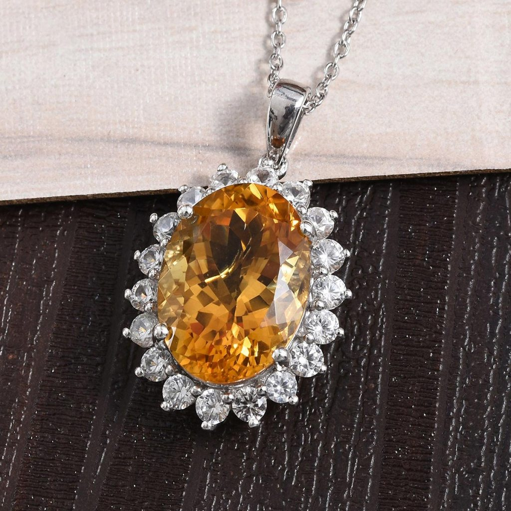 Brazilian Citrine, Natural White Zircon Pendant Necklace