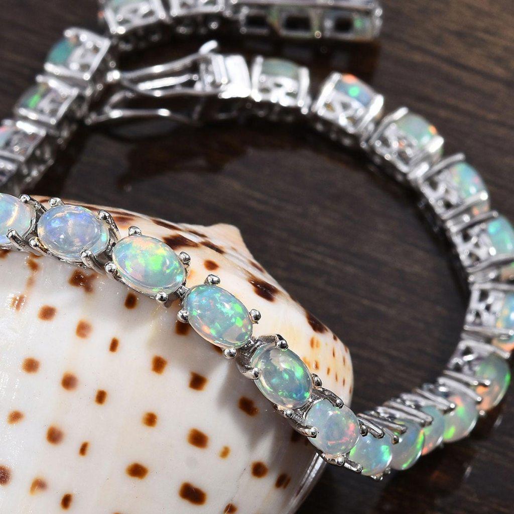 Ethiopian Welo Opal Tennis Bracelet in Platinum Over Sterling Silver