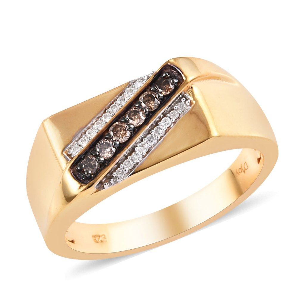 Natural Champagne Diamond and Diamond Men's Ring in Vermeil Yellow Gold Over Sterling Silver