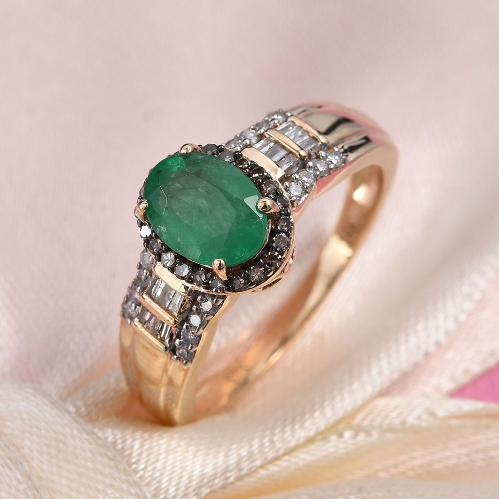 Kagem Zambian Emerald and Natural Champagne & White Diamond Ring