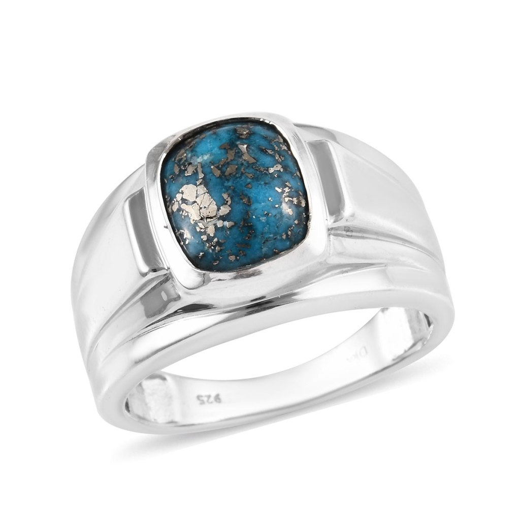 Persian Turquoise Men's Ring in Platinum Over Sterling Silver