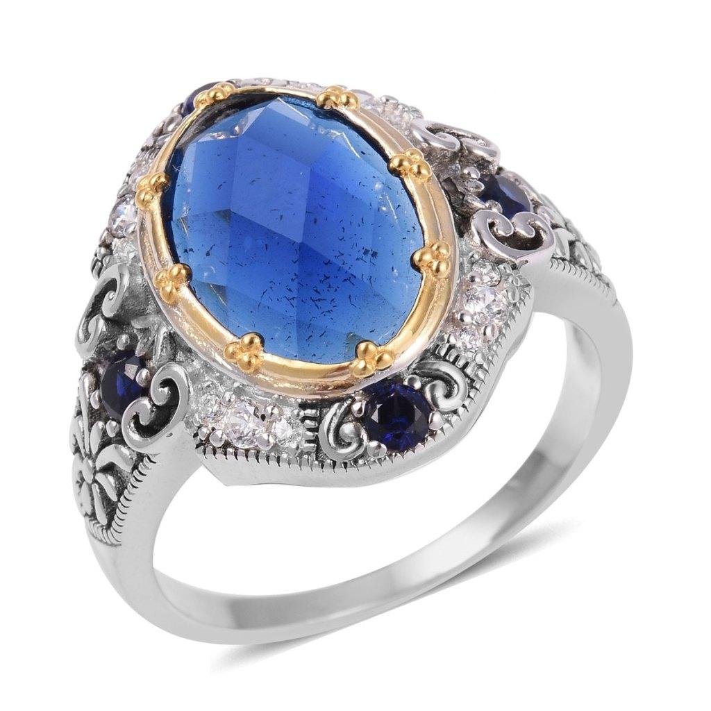 Xavier simulated sapphire ring.
