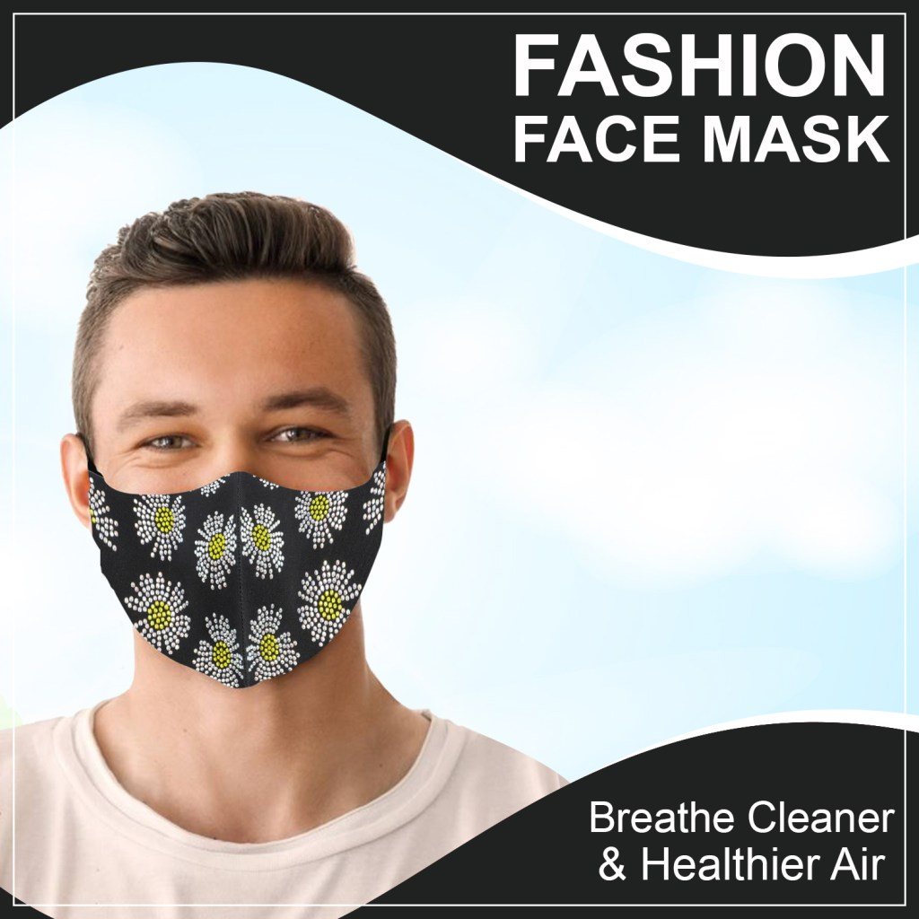 Man wearing daisy pattern face mask.