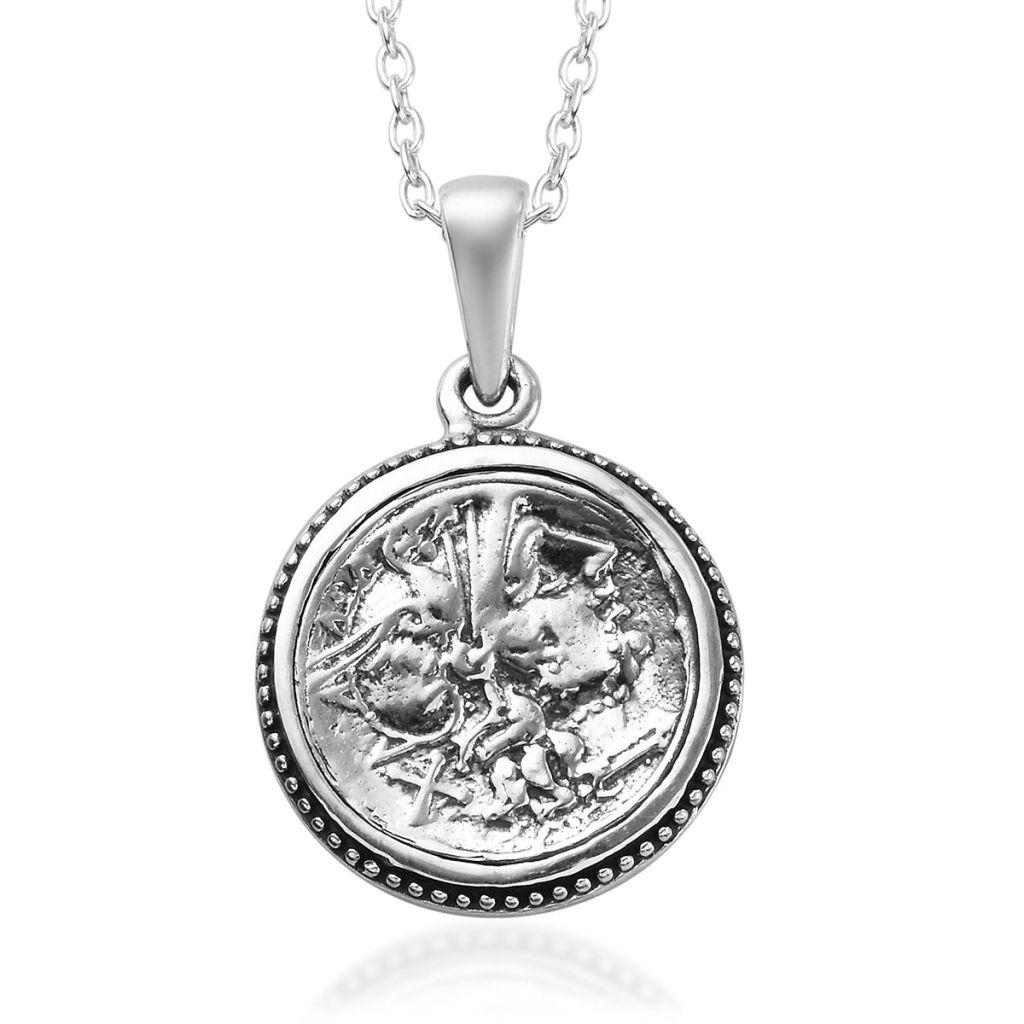 GP Collection coin pendant in sterling silver.
