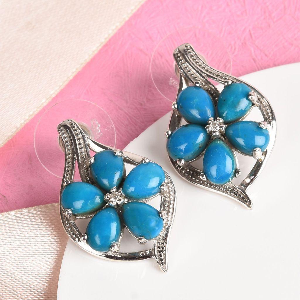 Opalina earrings in floral pattern.