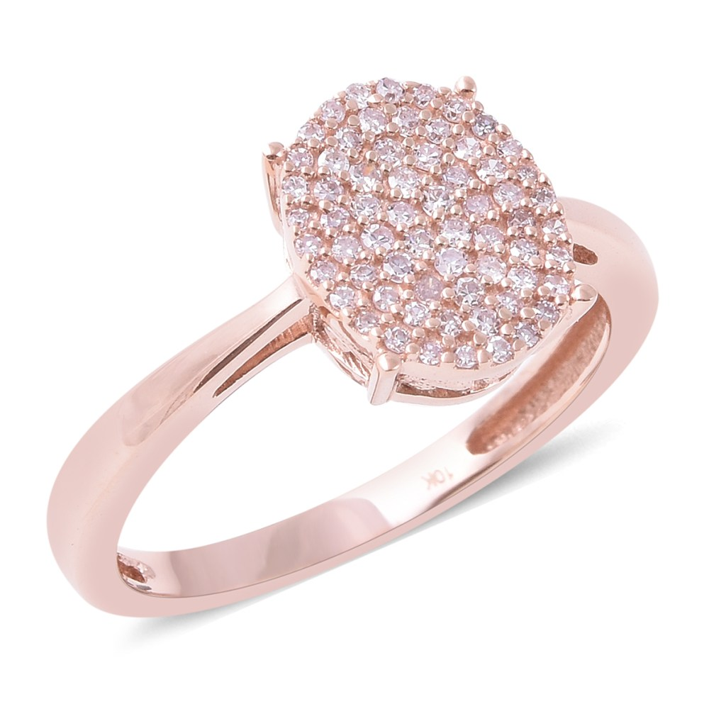 Pink diamond ring in 10K rose gold.