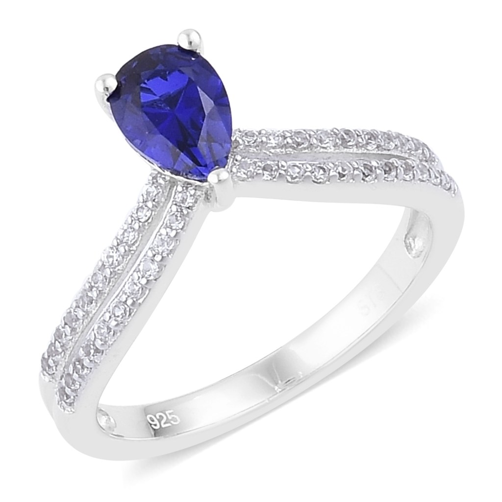 Lab-created sapphire ring in sterling silver.