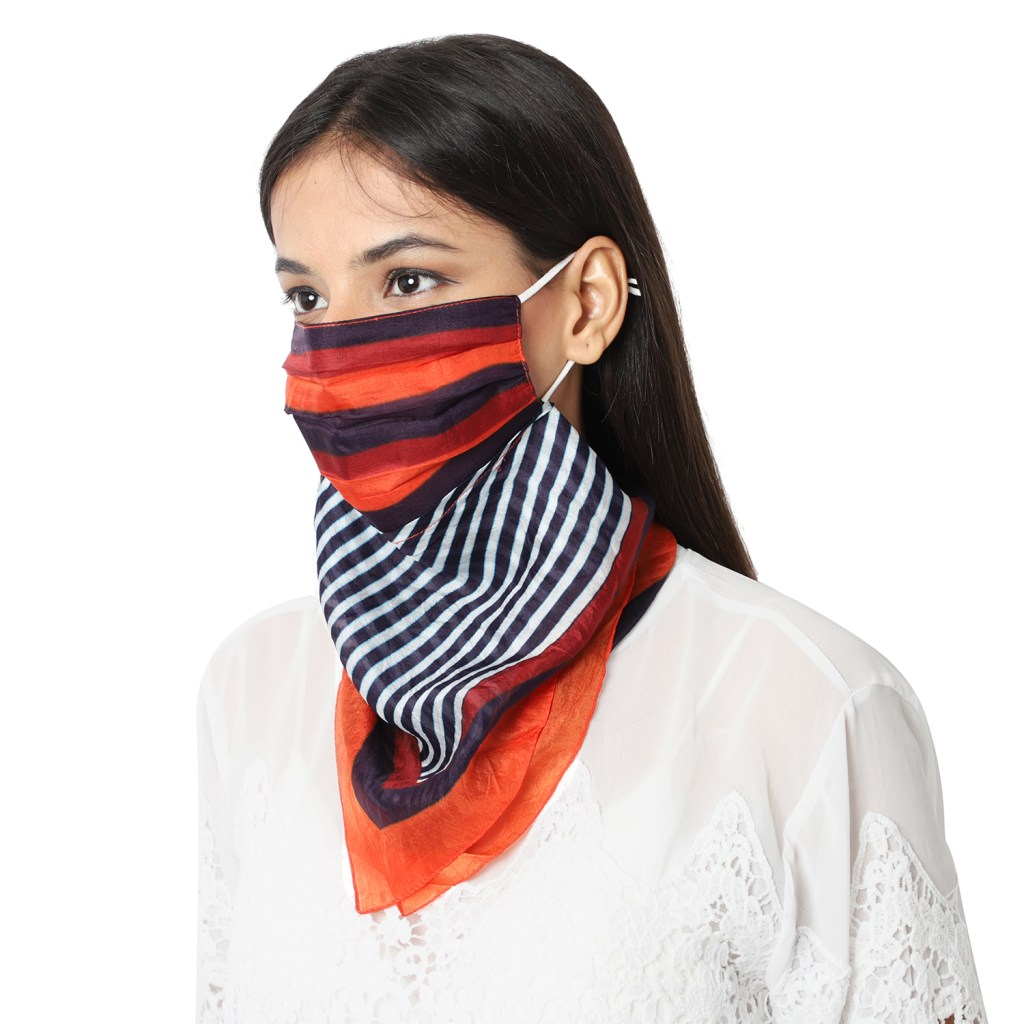 Striped scarf face mask.