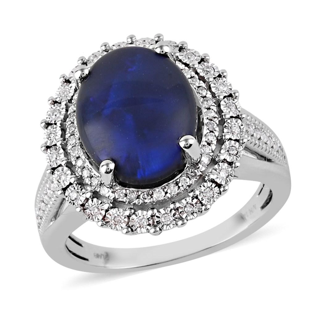 Black opal ring in white gold.