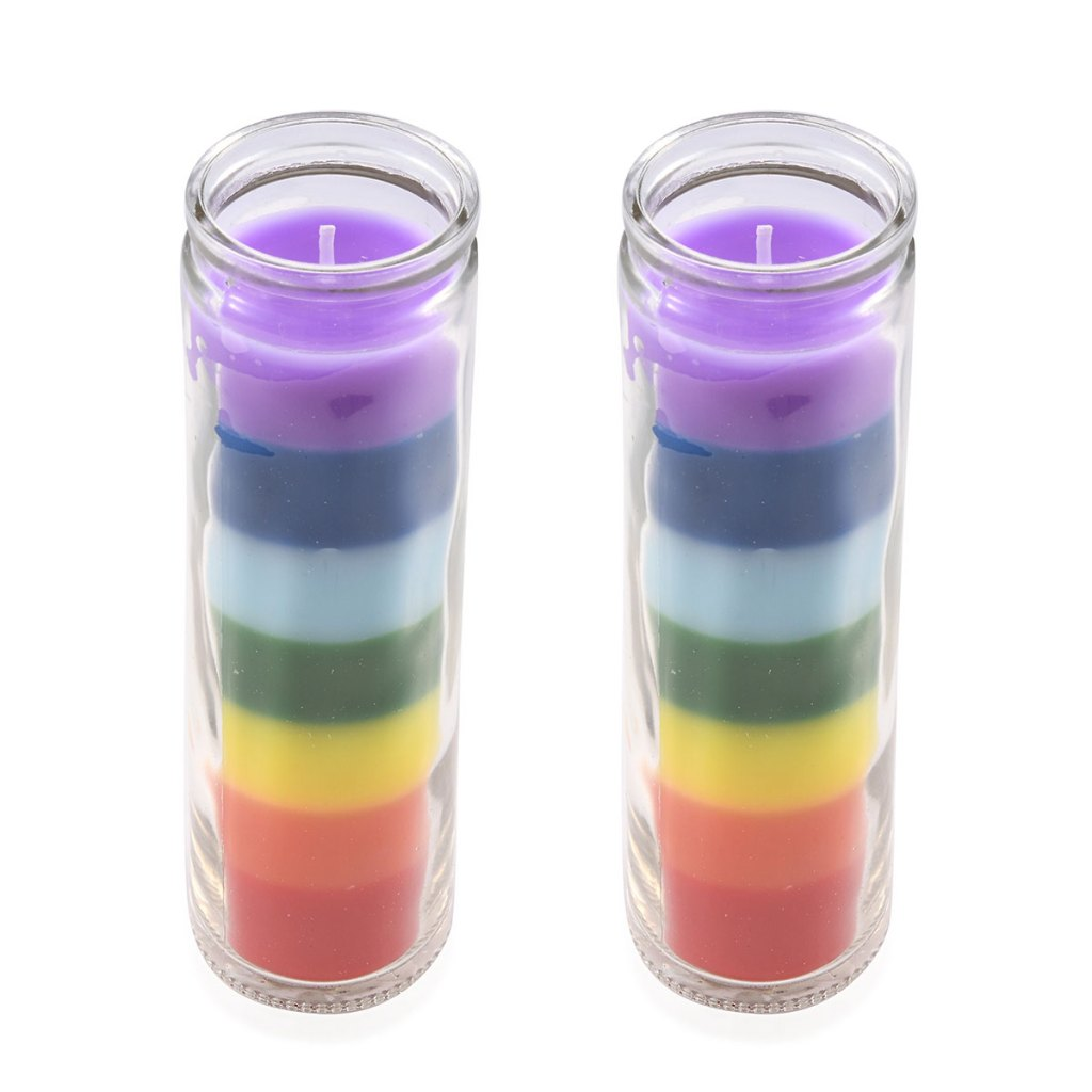 Set of 2 Multi Color Seven Chakra Wax Glass Candle
