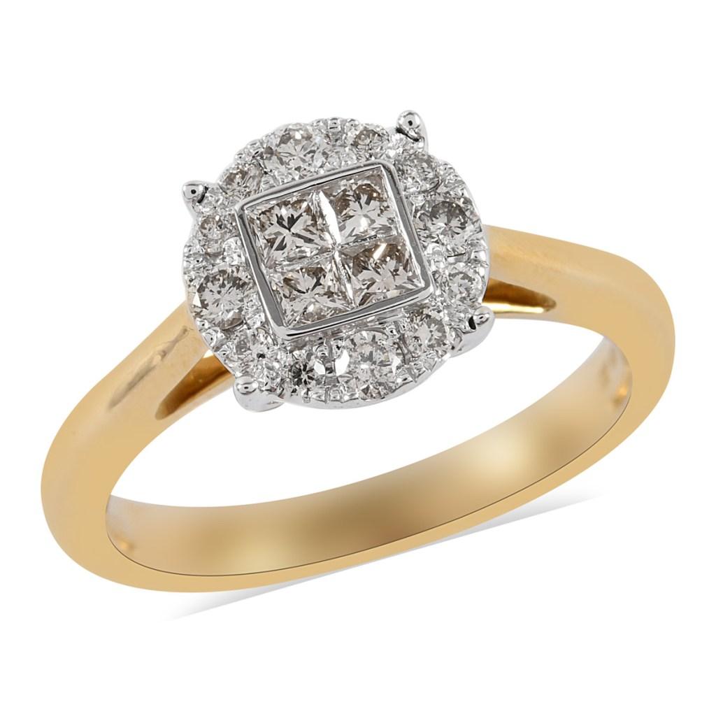 Diamond halo ring in yellow gold.