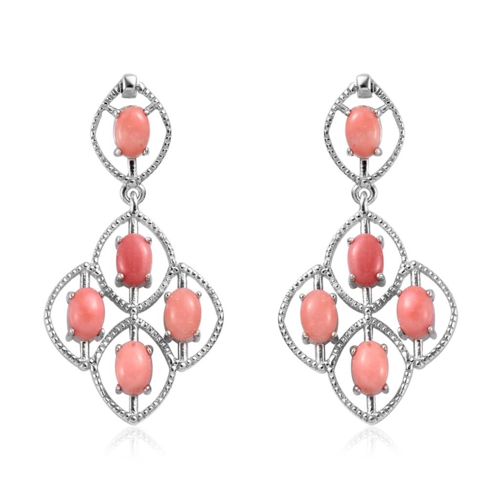 Peach opal earrings in sterling silver.