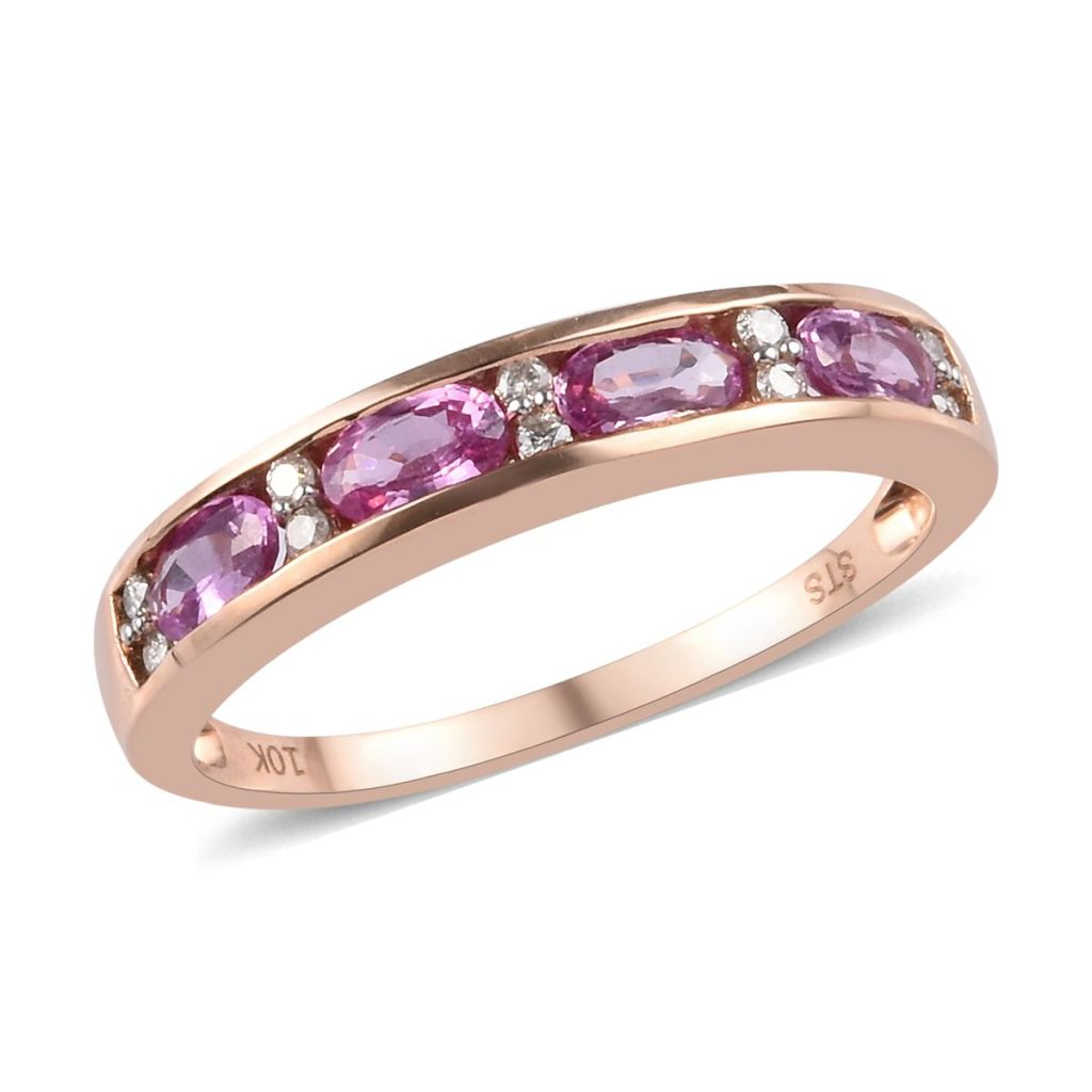 Rose gold pink sapphire band ring.