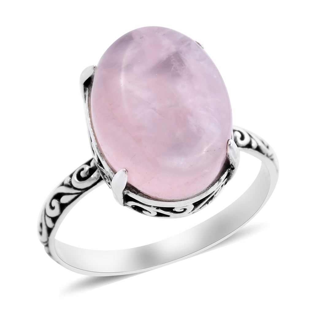 Bali crafted rose quartz ring in sterling silver.