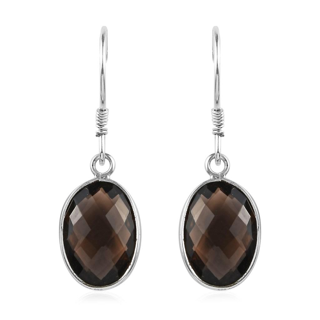 Smoky quartz earrings in sterling silver.