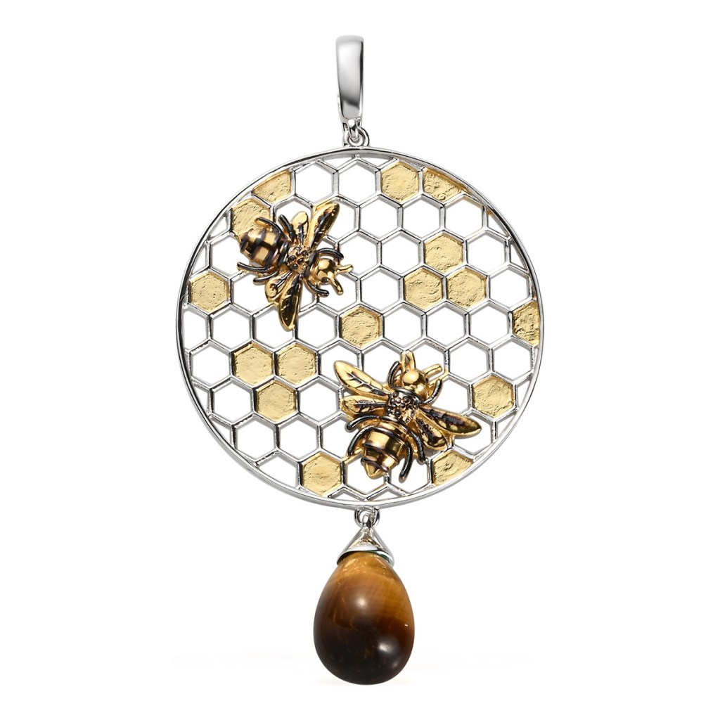 Honeycomb pendant with tiger's eye accent.