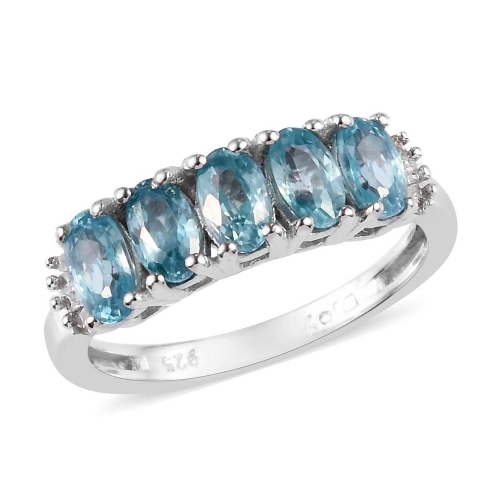 Five stone blue zircon ring.