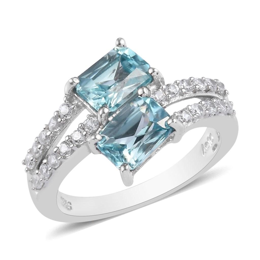 Blue zircon ring in sterling silver.