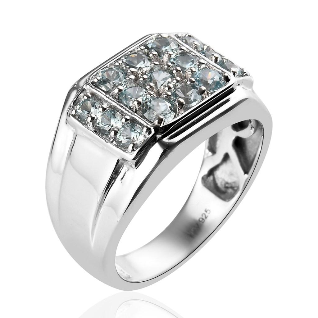 Blue zircon men's ring.