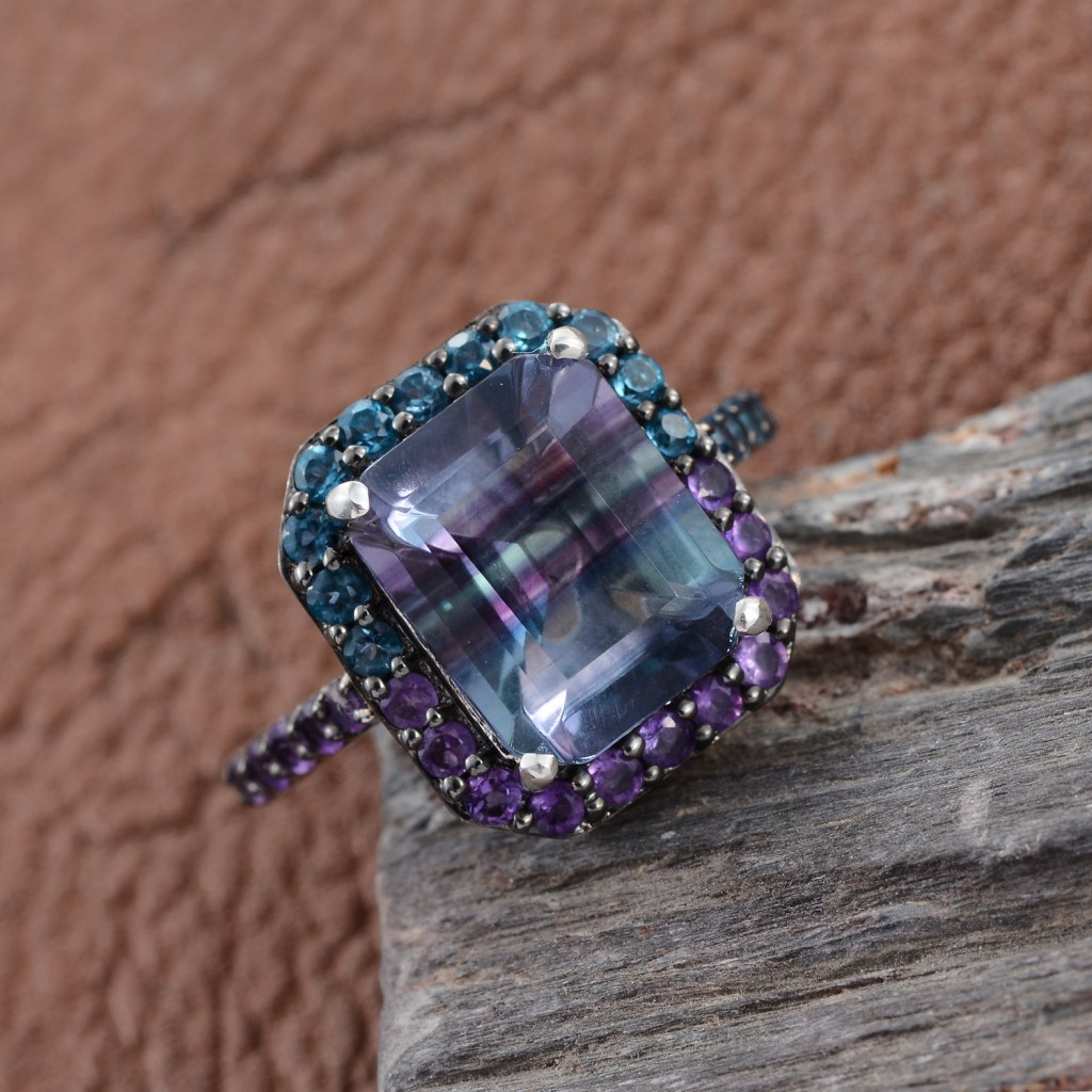 Blue and purple fluorite ring in sterling silver.