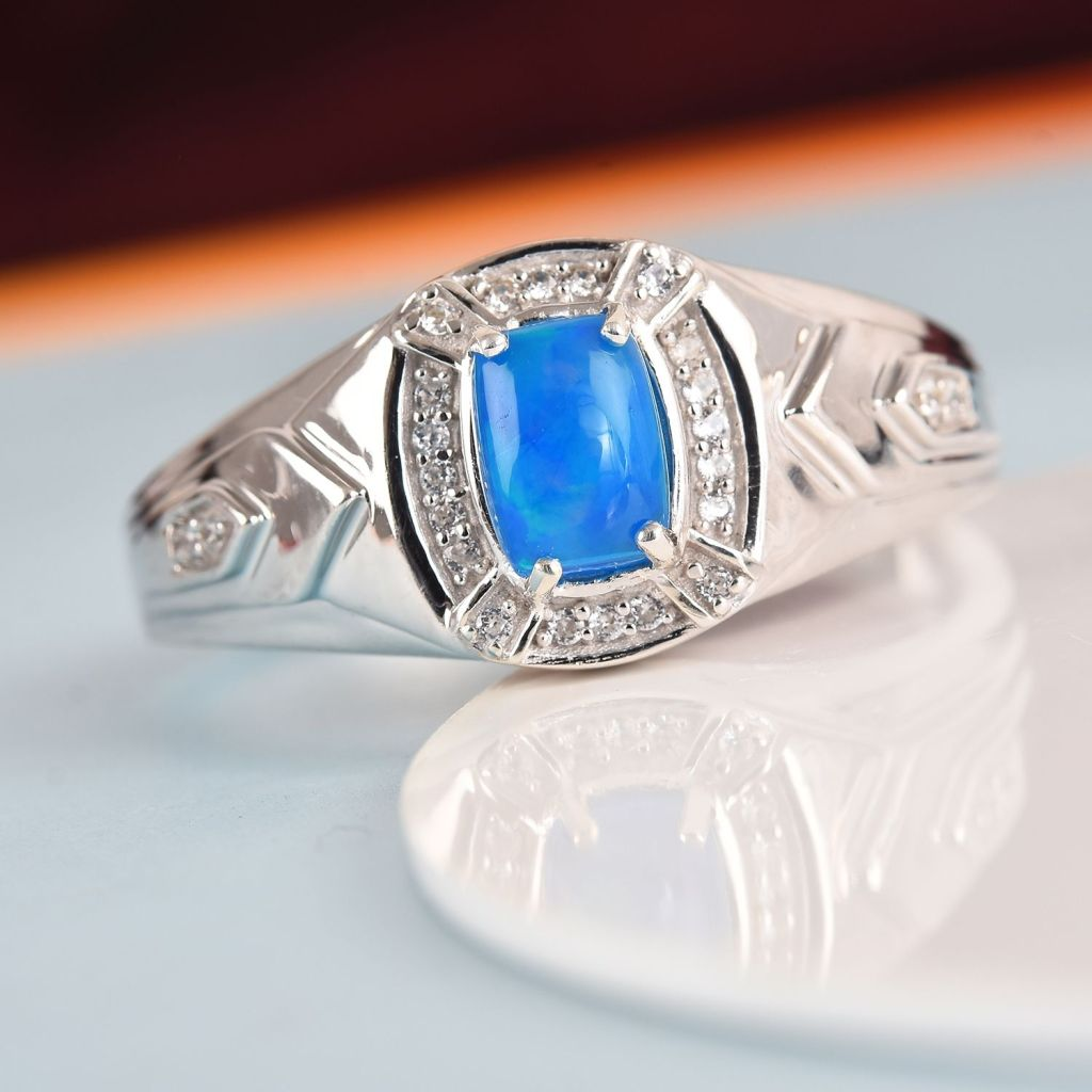 Blue opal men's ring in sterling silver.