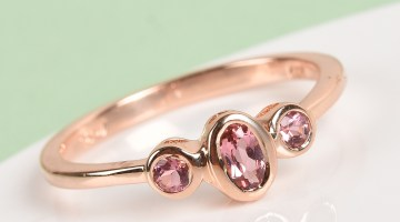 Pink three stone ring.