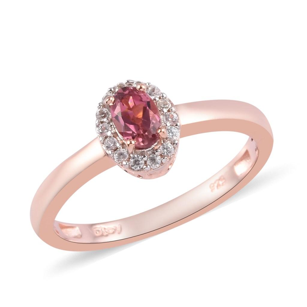 Pink tourmaline halo ring.