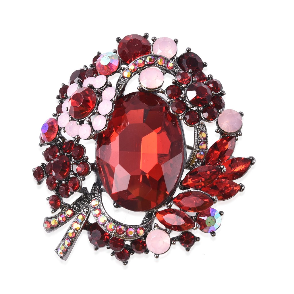 Red crystal brooch.