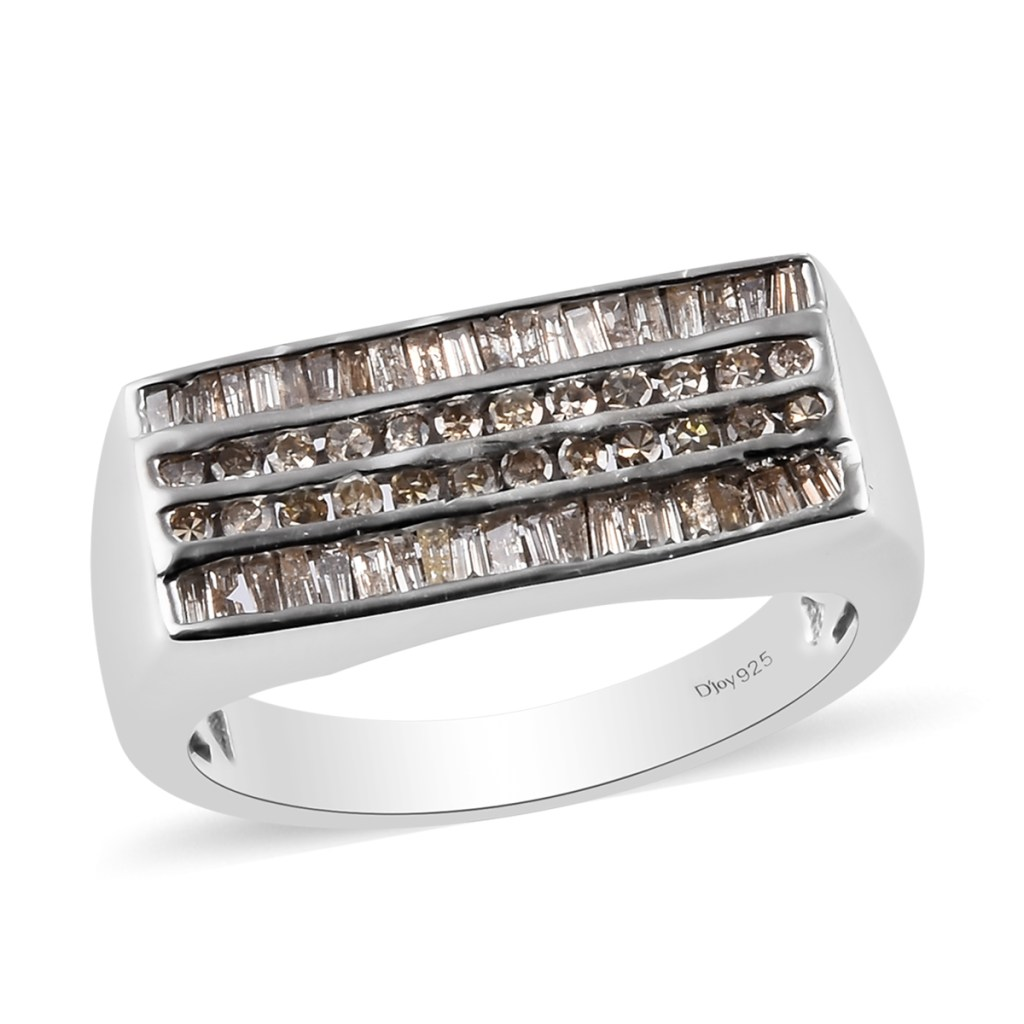 Champagne diamond men's ring in sterling silver.