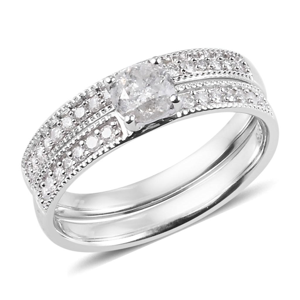 Diamond ring set in 10K white gold.