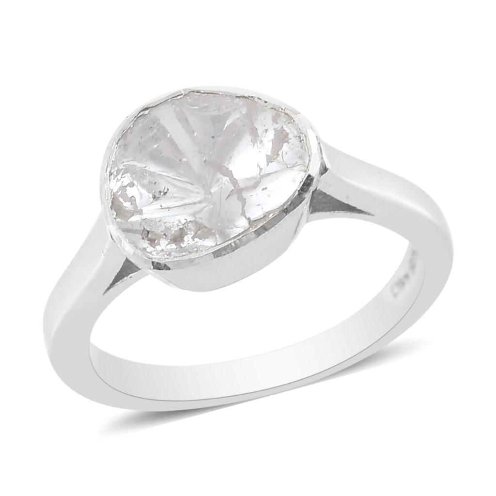 Polki diamond ring in sterling silver.