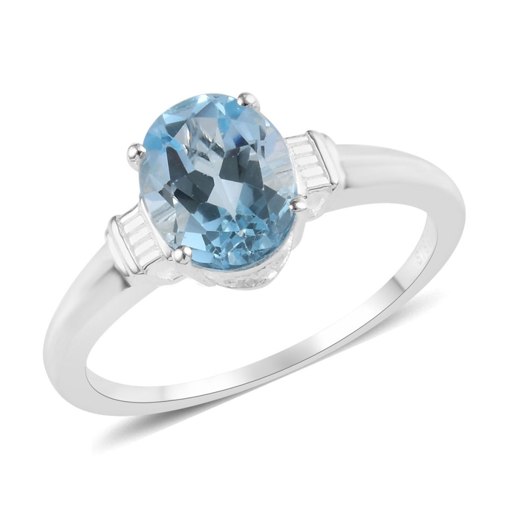 Sky blue topaz solitaire ring.