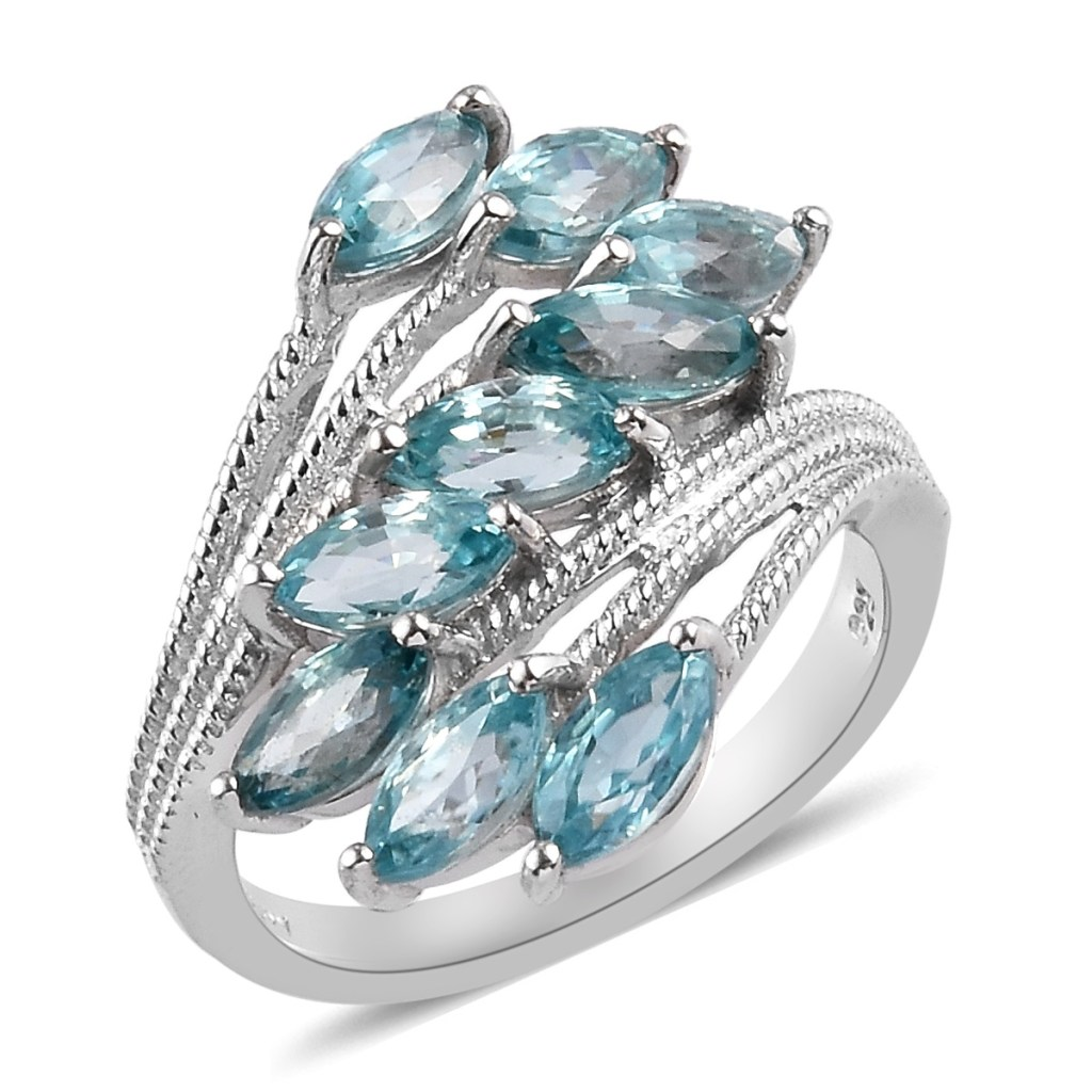 Bypass ring with blue gems.