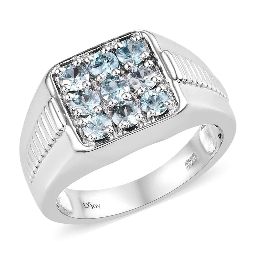 Men's ring with blue gemstones.
