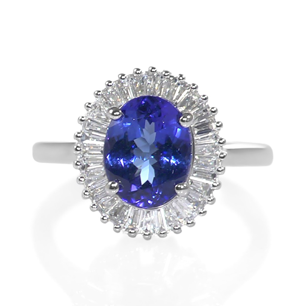 Tanzanite and diamond ballerina ring in platinum.