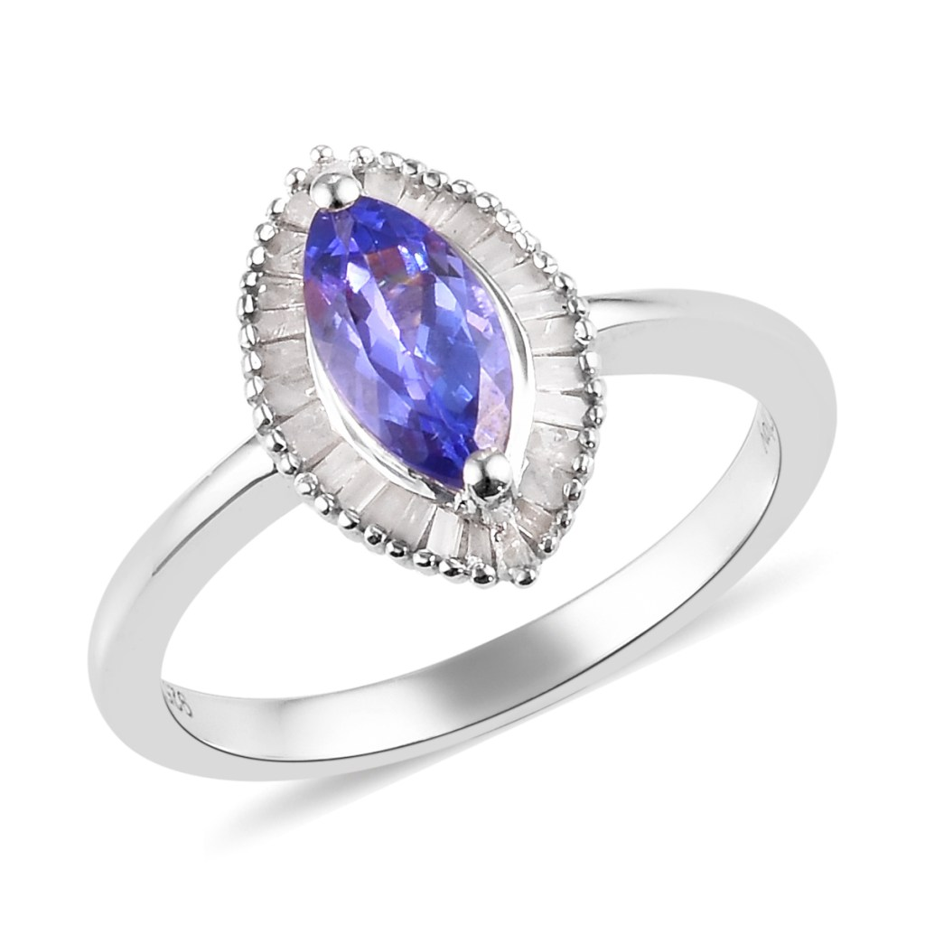 Blue gemstone marquise ring in sterling silver.