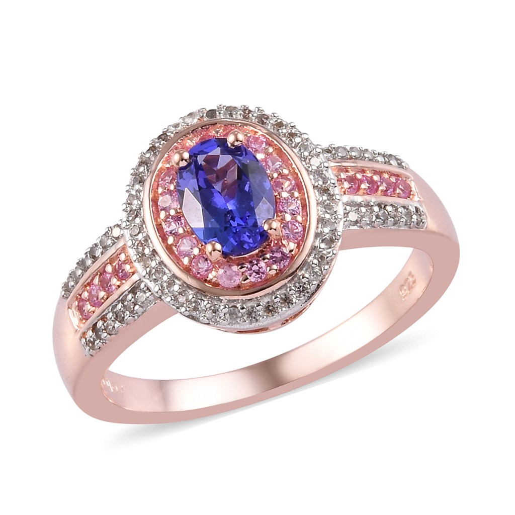 Tanzanite ring with pink sapphire and diamond halos in 10K rose gold vermeil.