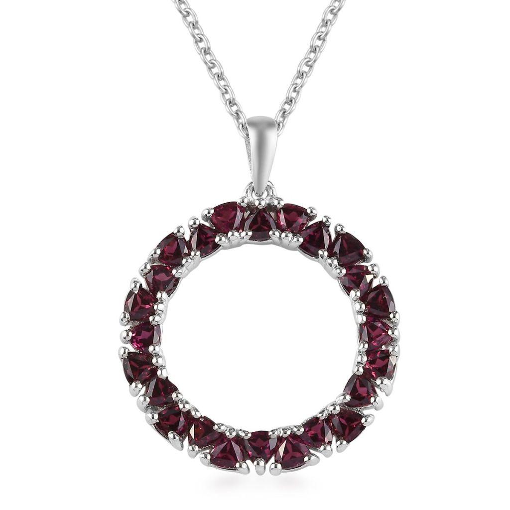 Garnet circle pendant.