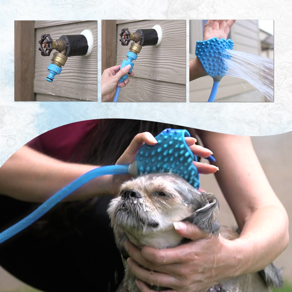Pet bathing tool being used to scrub up a pup!