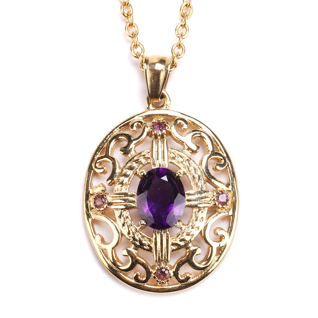 Gold amethyst necklace.