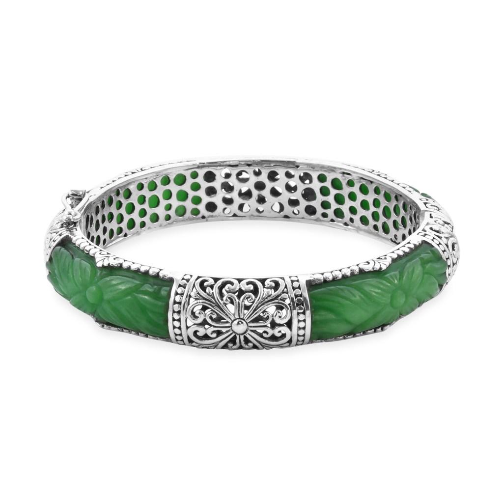 Bali jade bangle in sterling silver.