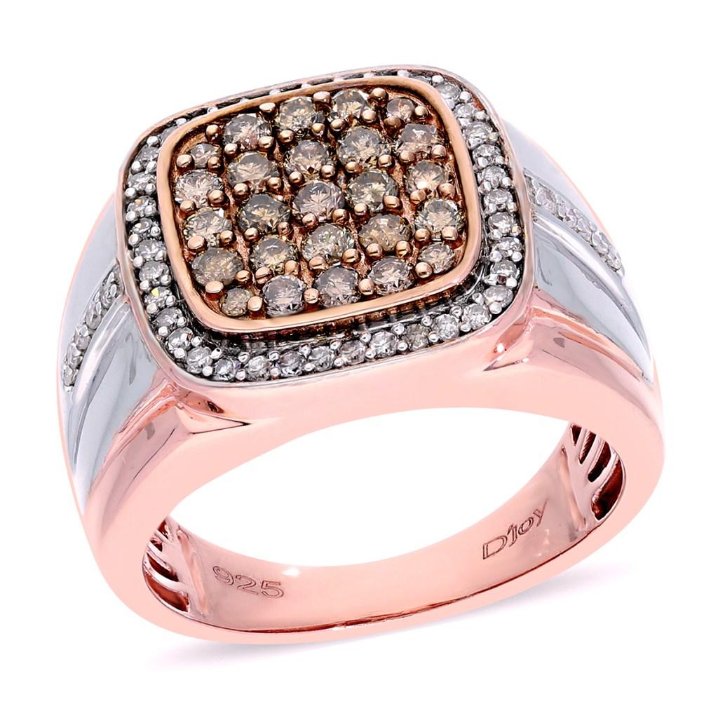 Champagne diamond rose gold ring for men.