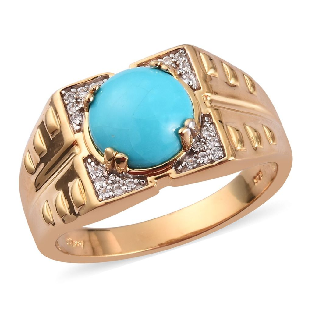 Sleeping Beauty Turquoise ring in gold for men.