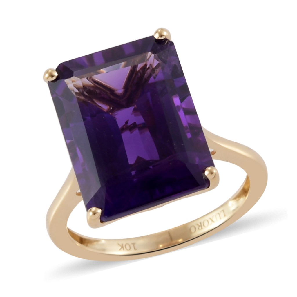 10K yellow gold amethyst solitaire ring.