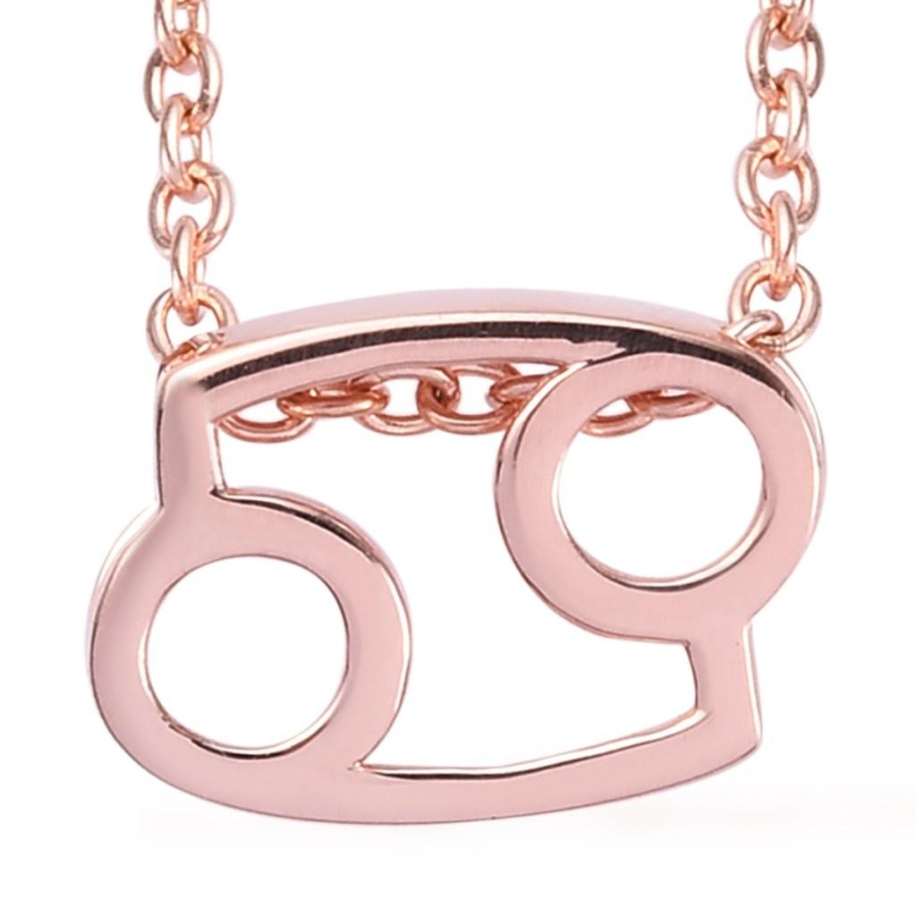 14K rose gold Cancer pendant.