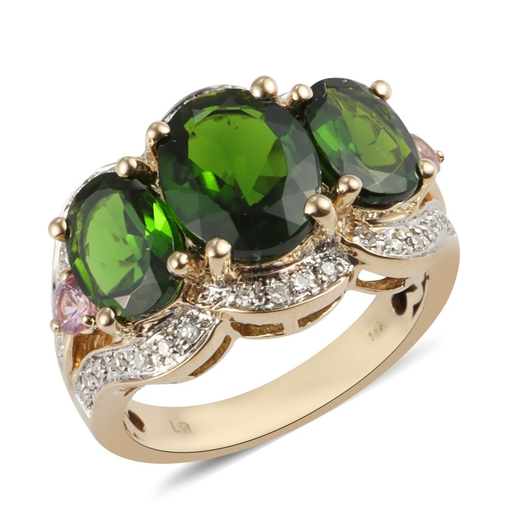 Chrome diopside three stone ring in 14K yellow gold.