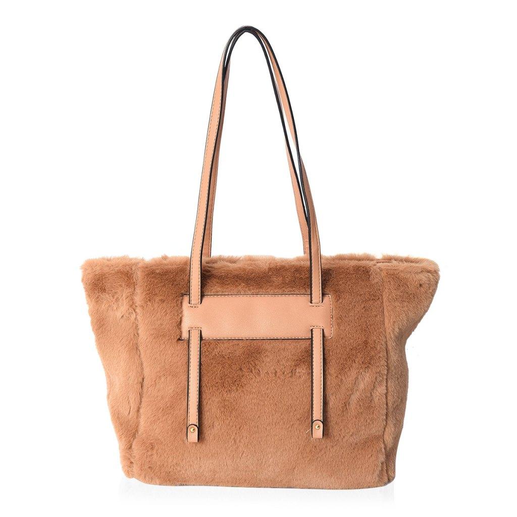 Brown faux fur handbag.